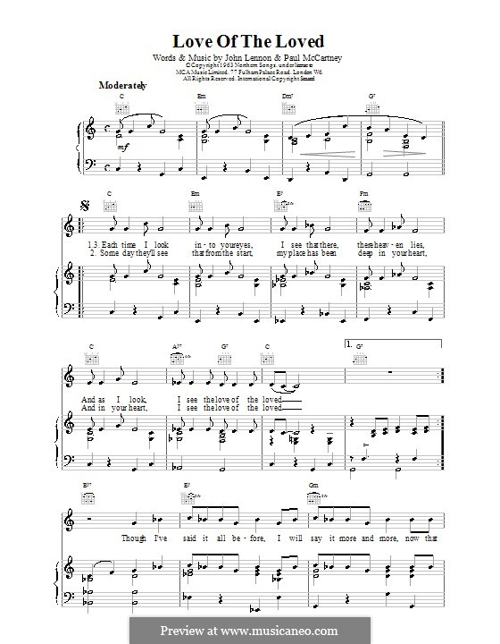 Love of the Loved (The Beatles): Для голоса и фортепиано (или гитары) by John Lennon