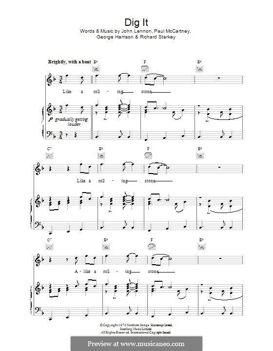 Dig It (The Beatles): Для голоса и фортепиано (или гитары) by George Harrison, John Lennon, Paul McCartney, Ringo Starr