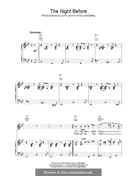The Night Before (The Beatles): Для голоса и фортепиано (или гитары) by John Lennon, Paul McCartney
