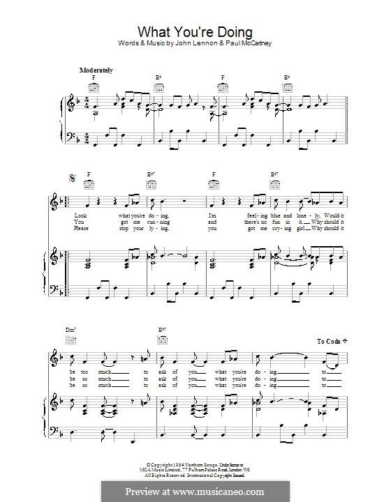 What You're Doing (The Beatles): Для голоса и фортепиано (или гитары) by John Lennon, Paul McCartney