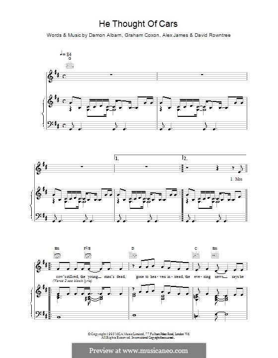 He Thought of Cars (Blur): Для голоса и фортепиано (или гитары) by Alex James, Damon Albarn, David Rowntree, Graham Coxon