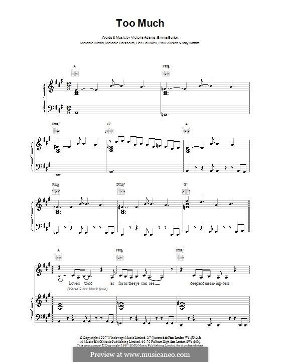 Too Much (The Spice Girls): Для голоса и фортепиано (или гитары) by Andy Watkins, Emma Bunton, Geri Halliwell, Melanie Brown, Melanie C, Paul Wilson, Victoria Adams