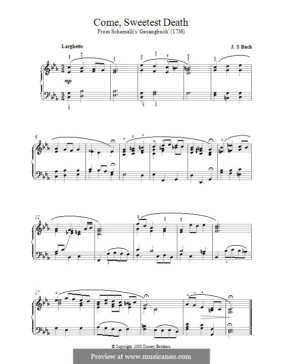 Come, Sweet Death: Для фортепиано by Иоганн Себастьян Бах