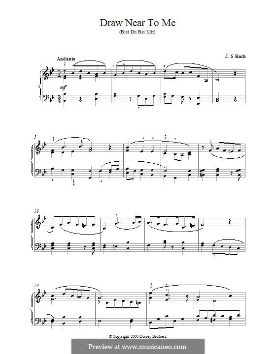 No.25 Bist du bei mir (You Are with Me), Printable scores: Для фортепиано (си бемоль мажор) by Иоганн Себастьян Бах