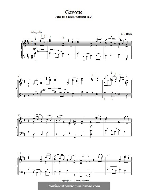Гавот: Версия для фортепиано by Иоганн Себастьян Бах