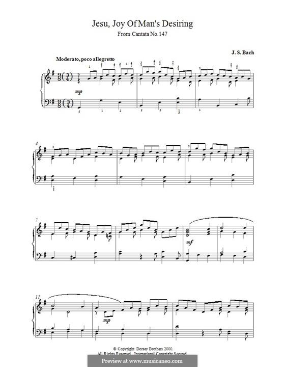 Jesu, Joy of Man's Desiring, for Piano: Для одного исполнителя by Иоганн Себастьян Бах
