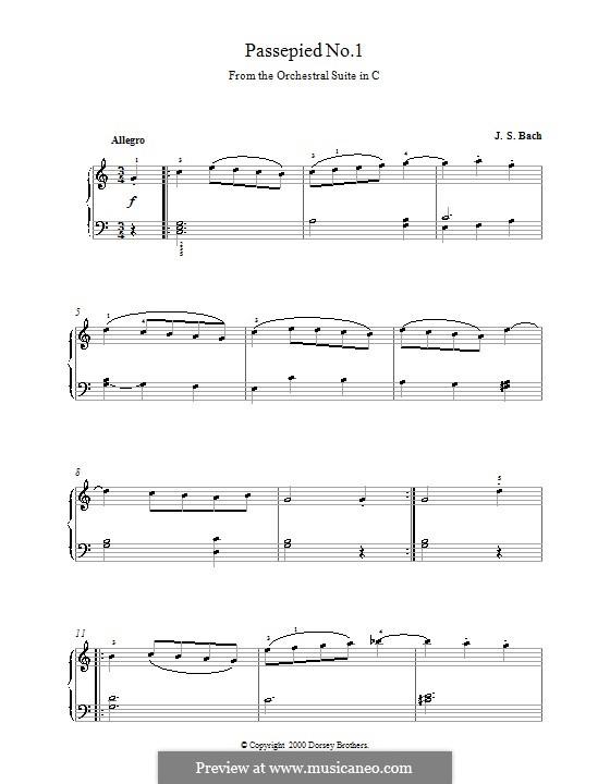 Сюита для оркестра No.1 до мажор, BWV 1066: Passepied No.1, for Piano by Иоганн Себастьян Бах