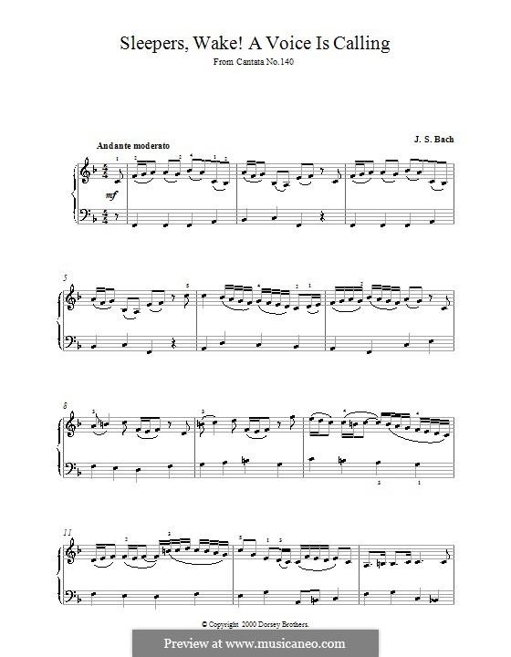 Sleepers, Awake: Для фортепиано (фа мажор) by Иоганн Себастьян Бах