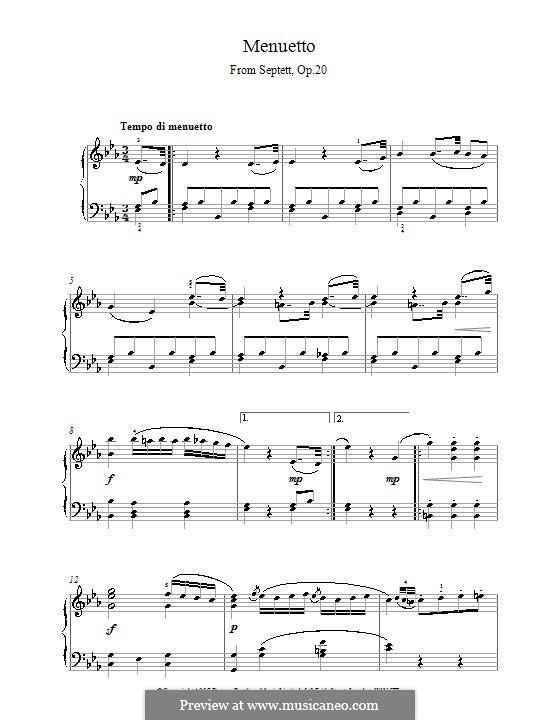 Септет для духовых и струнных, Op.20: Часть III. Версия для фортепиано by Людвиг ван Бетховен