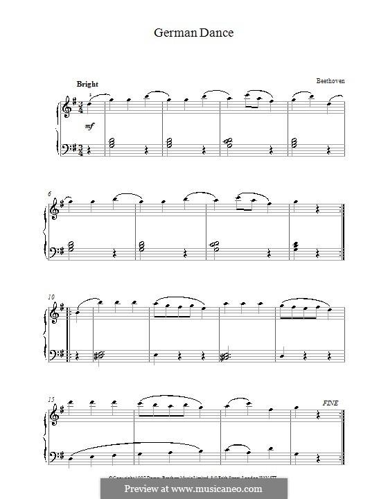 Шесть немецких танцев для скрипки и фортепиано, WoO 42: Танец No.6. Версия для фортепиано by Людвиг ван Бетховен