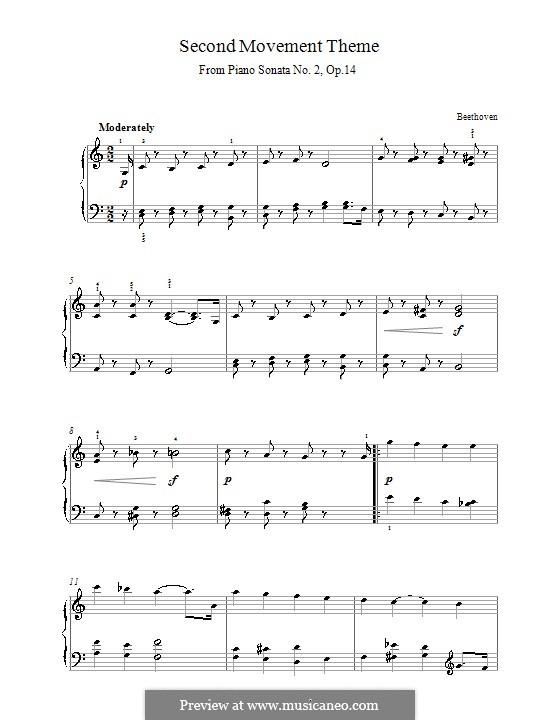 Соната для фортепиано No.10, Op.14 No.2: Часть II (Тема) by Людвиг ван Бетховен
