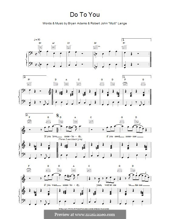Do To You: Для голоса и фортепиано (или гитары) by Bryan Adams