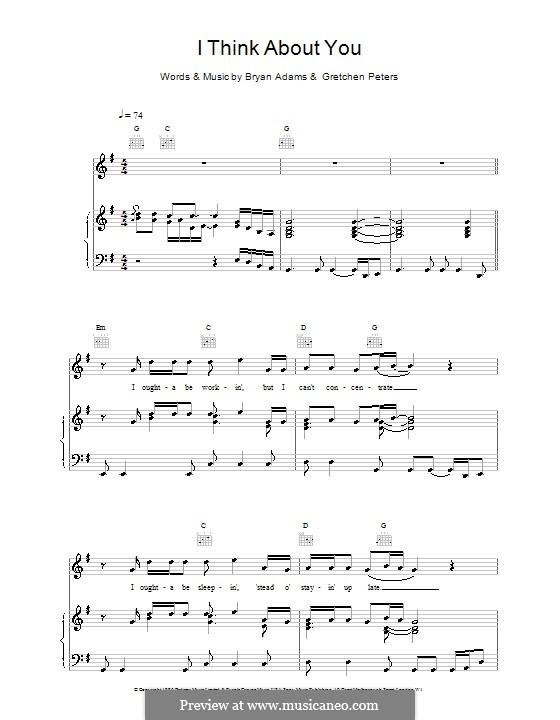 I Think About You: Для голоса и фортепиано (или гитары) by Bryan Adams