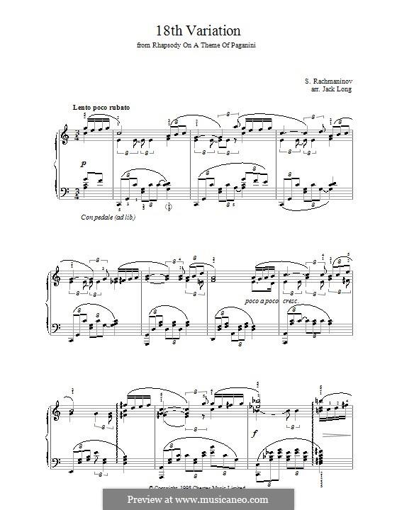 Рапсодия на тему Паганини, Op.43: Вариация XVIII, для фортепиано by Сергей Рахманинов