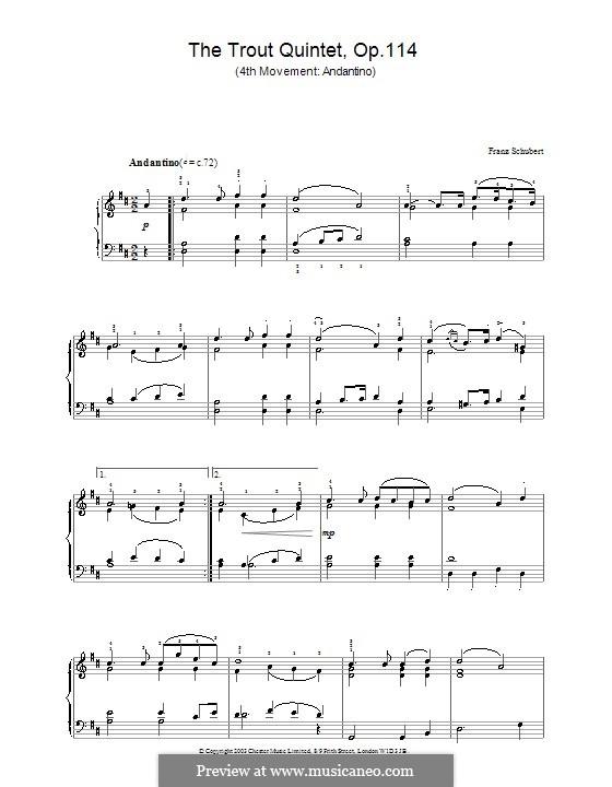 Квинтет для струнных и фортепиано 'Форель', D.667 Op.114: Часть IV. Версия для фортепиано by Франц Шуберт