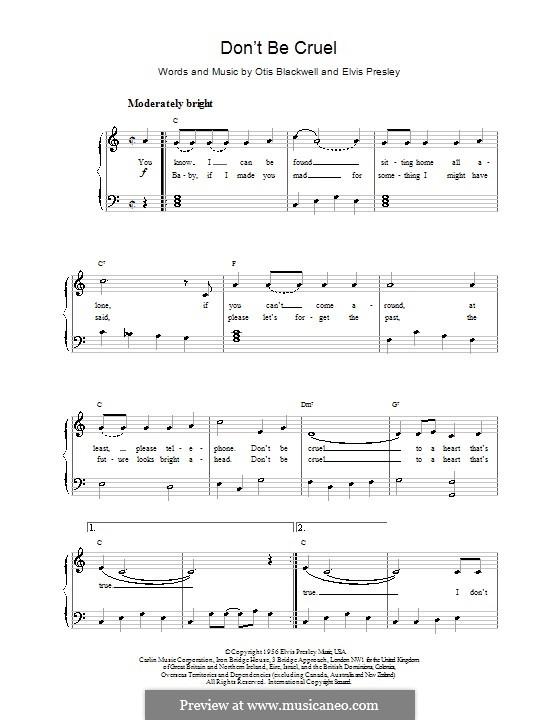 Don't Be Cruel: Для фортепиано (легкий уровень) by Elvis Presley, Otis Blackwell