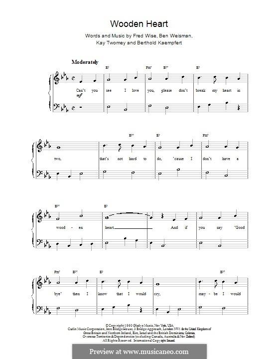 World We Knew (Over and Over): Для фортепиано (легкий уровень) (Elvis Presley) by Ben Weisman, Bert Kaempfert, Fred Wise, Kay Twomey