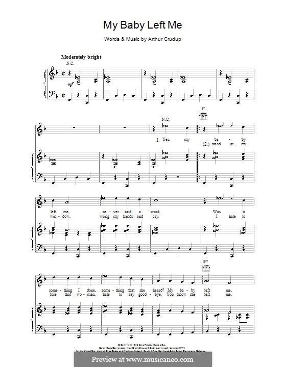 My Baby Left Me (Elvis Presley): Для голоса и фортепиано (или гитары) by Arthur Crudup