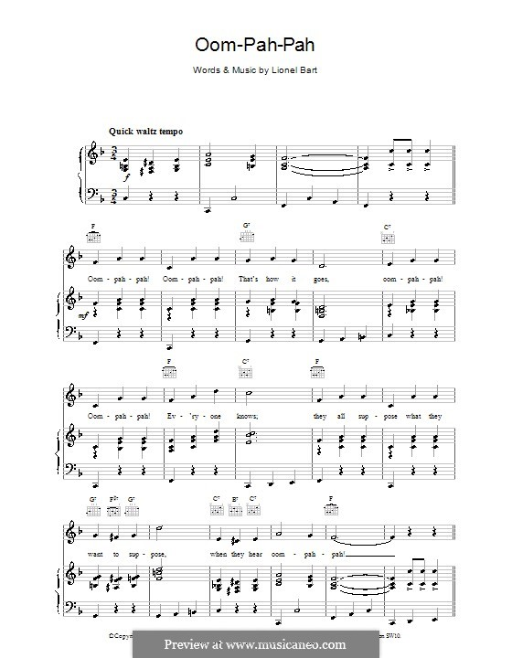 Oom-Pah-Pah (from Oliver!): Для голоса и фортепиано (или гитары) by Lionel Bart