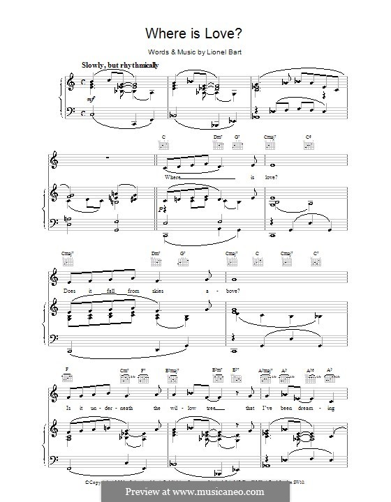 Where Is Love?: Для голоса и фортепиано (или гитары) by Lionel Bart
