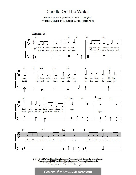Candle on the Water (from Walt Disney's Pete's Dragon): Для фортепиано by Al Kasha, Joel Hirschhorn
