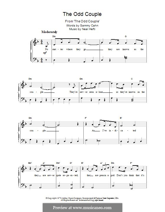 Theme from The Odd Couple: Piano with lyric by Neal Hefti