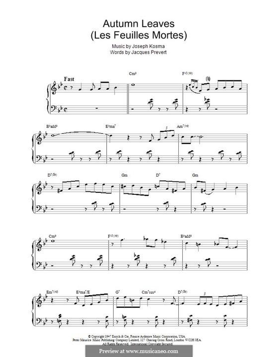 Autumn Leaves: Для фортепиано by Joseph Kosma