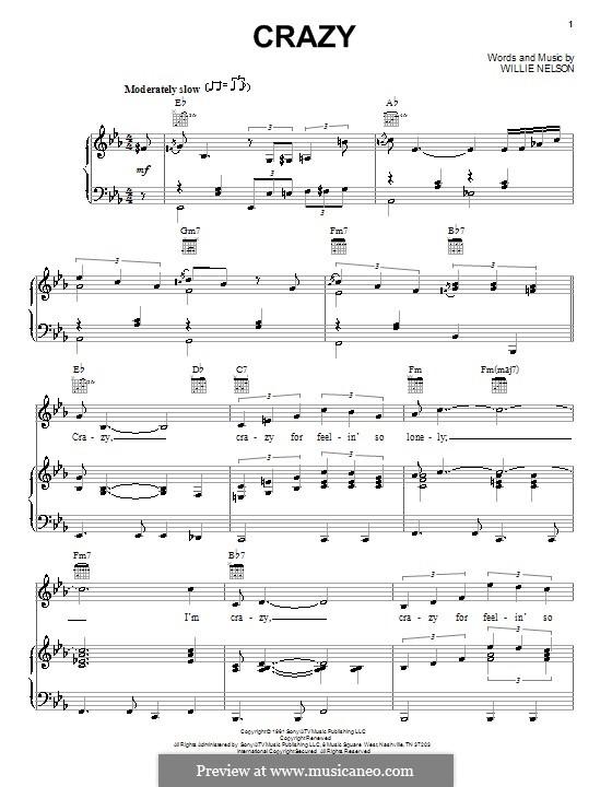 Crazy (Patsy Cline): Для голоса и фортепиано (или гитары) by Willie Nelson