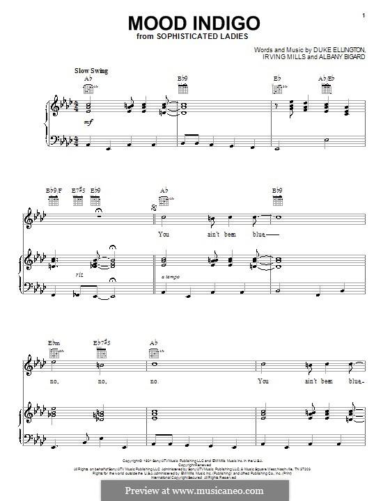 Mood Indigo: Для голоса и фортепиано (или гитары) by Irving Mills, Albany Bigard, Duke Ellington