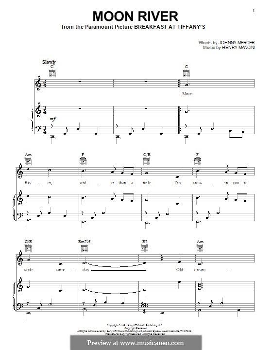 Лунная река (из фильма 'Завтрак у Тиффани'): Для голоса и фортепиано или гитары (Andy Williams) by Henry Mancini