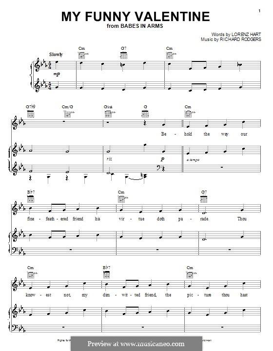 My Funny Valentine: Для голоса и фортепиано или гитары (C Minor) by Richard Rodgers