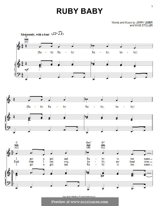 Ruby Baby (Dion): Для голоса и фортепиано (или гитары) by Jerry Leiber, Mike Stoller