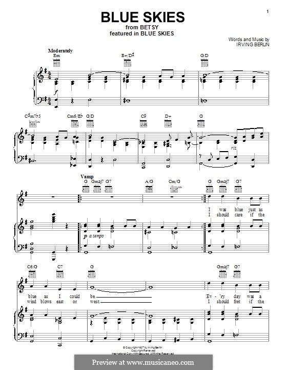 Blue Skies: Для голоса и фортепиано (или гитары) by Ирвинг Берлин