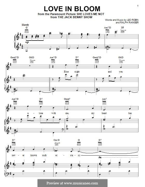 Love in Bloom: Для голоса и фортепиано (или гитары) by Ralph Rainger