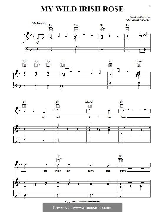 My Wild Irish Rose: Для голоса и фортепиано (или гитары) by Chauncey Olcott