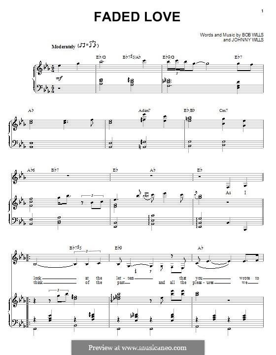 Faded Love (Bob Wills): Для голоса и фортепиано (или гитары) by Johnny Wills