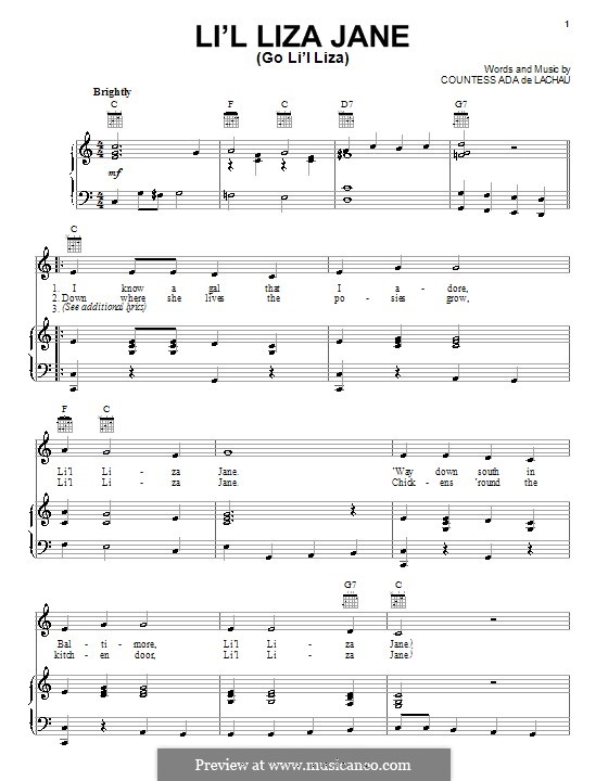 Li'l Liza Jane (Go Li'l Liza): Для голоса и фортепиано (или гитары) by Countess Ada De Lachau