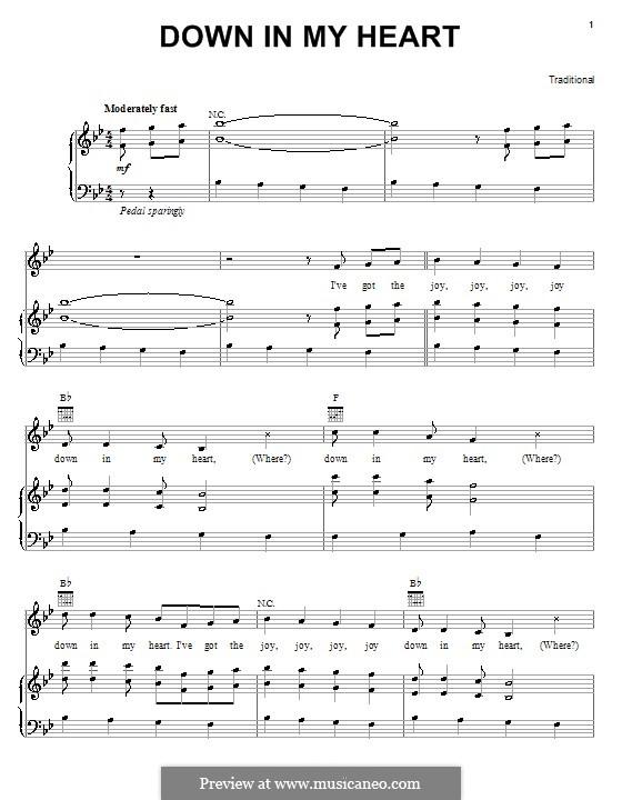 Down in My Heart: Для голоса и фортепиано (или гитары) by folklore