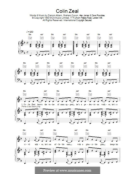 Colin Zeal (Blur): Для голоса и фортепиано (или гитары) by Alex James, Damon Albarn, David Rowntree, Graham Coxon