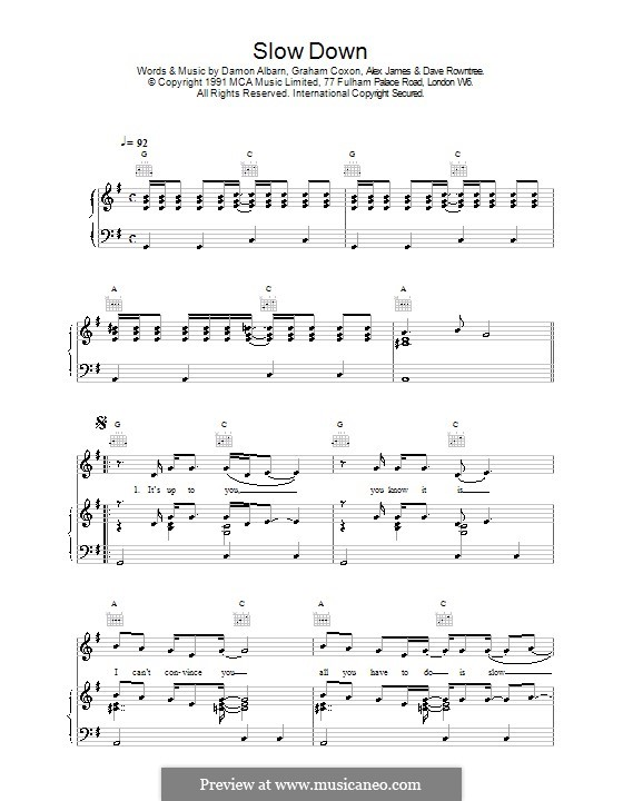 Slow Down (Blur): Для голоса и фортепиано (или гитары) by Alex James, Damon Albarn, David Rowntree, Graham Coxon