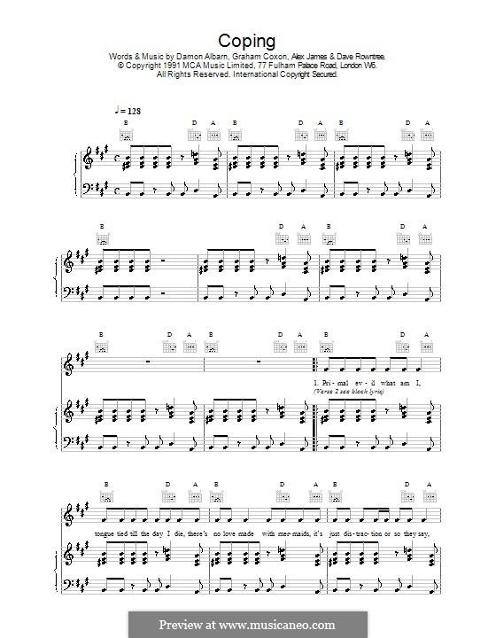 Coping (Blur): Для голоса и фортепиано (или гитары) by Alex James, Damon Albarn, David Rowntree, Graham Coxon