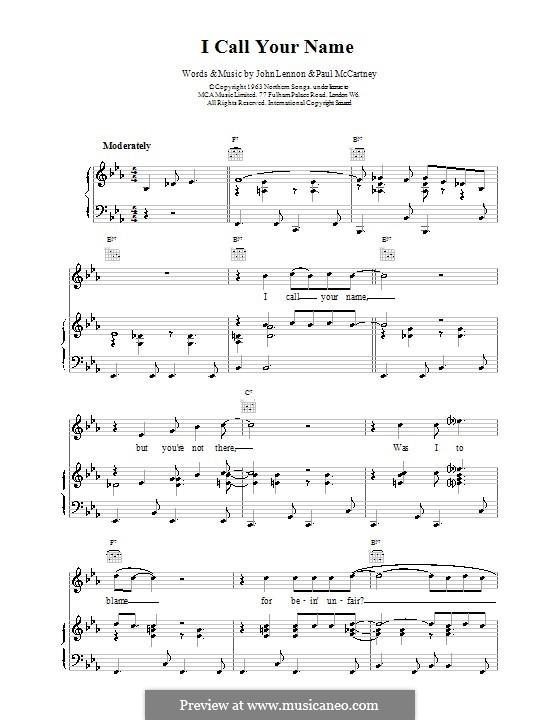 I Call Your Name (The Beatles): Для голоса и фортепиано (или гитары) by John Lennon, Paul McCartney