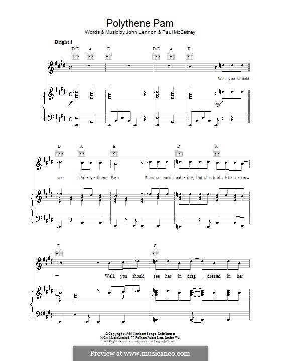 Polythene Pam (The Beatles): Для голоса и фортепиано (или гитары) by John Lennon, Paul McCartney