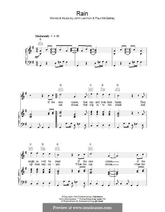 Rain (The Beatles): Для голоса и фортепиано (или гитары) by John Lennon, Paul McCartney