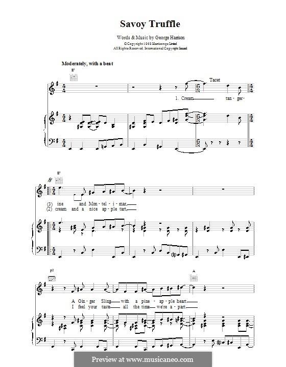 Savoy Truffle (The Beatles): Для голоса и фортепиано (или гитары) by George Harrison