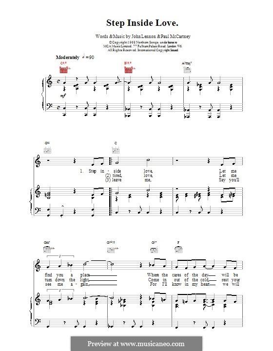 Step Inside Love (The Beatles): Для голоса и фортепиано (или гитары) by John Lennon, Paul McCartney