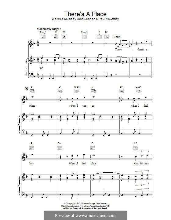 There's a Place (The Beatles): Для голоса и фортепиано (или гитары) by John Lennon, Paul McCartney