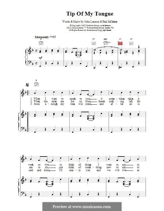 Tip of My Tongue (The Beatles): Для голоса и фортепиано (или гитары) by John Lennon, Paul McCartney