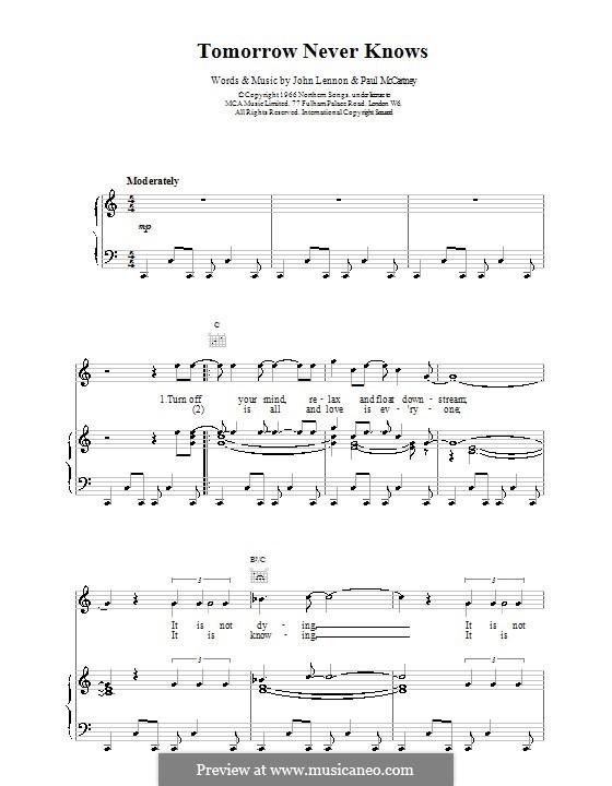 Tomorrow Never Knows (The Beatles): Для голоса и фортепиано (или гитары) by John Lennon, Paul McCartney