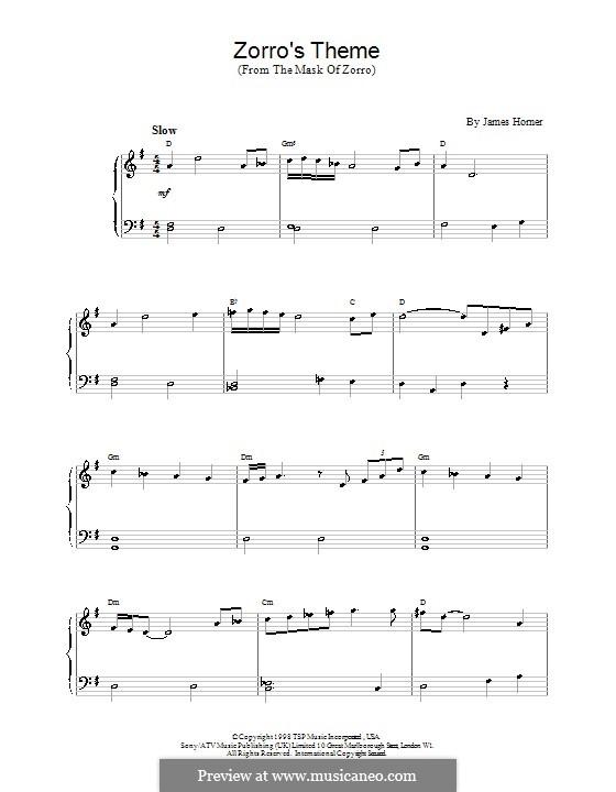 Zorro's Theme (from The Mask of Zorro): Для фортепиано (легкий уровень) by James Horner
